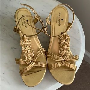 Kate Spade gold cork wedges